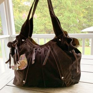 FOSSIL Leather & Corduroy Large Bag